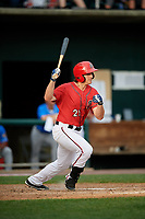 Harrisburg Senators second baseman Dan Gamache (21) grounds out during a game against the Akron RubberDucks on August 18, 2018 at FNB Field in Harrisburg, Pennsylvania.  Akron defeated Harrisburg 5-1.  (Mike Janes/Four Seam Images)