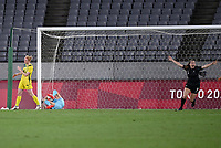 21st July 2021. Tokyo, Japan; Gabi Rennie of New Zealand celebrates after scoring her goal during for womens football match G match between Australia and New Zealand at Tokyo 2020 in Tokyo, Japan