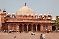 Fatehpur Sikri, Uttar Pradesh, India.  Tomb of Islam Khan, inside the compound of the Jama Masjid (Dargah Mosque).  Chhatris line the roof line.