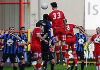 KV Kortrijk - Club Brugge : Zarko Tomasevic (33) kopt de 1-1 gelijkmaker binnen<br /> Foto VDB / Bart Vandenbroucke