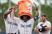 Charlotte Stone Crabs Moises Gomez (left) puts the Gatorade bucket over Wander Franco (1) head after a walk-off win off the bat of Connor Hollis (right) during a Florida State League game against the Bradenton Maruaders on August 7, 2019 at Charlotte Sports Park in Port Charlotte, Florida.  Charlotte defeated Bradenton 3-2 in the second game of a doubleheader.  (Mike Janes/Four Seam Images)