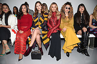 Georgia May Foote, Charlotte De Carle, Ella Eyre and Zara Martin<br /> at the Teatum Jones AW17 show as part of London Fashion Week AW17 at 180 Strand, London.<br /> <br /> <br /> ©Ash Knotek  D3230  17/02/2017