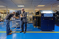 Pictured: Dr Peter Dickinson (C) of Spectrum Technologies in Bridgend, Wales, UK. Wednesday 19 February 2020<br /> Re: The effect of the Ford factory closure will have to Bridgend in south Wales, UK.
