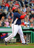 29 March 2008: Washington Nationals' first baseman Dmitri Young at bat as a designated hitter during an exhibition game against the Baltimore Orioles at Nationals Park, in Washington, DC. The matchup was the first professional baseball game played in the new Nationals Park, prior to the upcoming official opening day inaugural game. The Nationals defeated the Orioles 3-0...Mandatory Photo Credit: Ed Wolfstein Photo