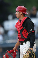 Seth Conner #27 of the Vancouver Canadians during a game against the Hillsboro Hops at Nat Bailey Stadium on July 24, 2014 in Vancouver, British Columbia. Vancouver defeated Hillsboro, 5-2. (Larry Goren/Four Seam Images)