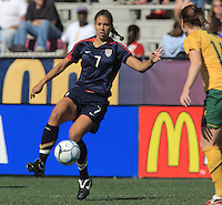 Shannon Boxx during international friendly match between the US Womens National Team and Australia at Legion Field in Birmingham, Alabama. USA beats Australia in the 94th minute 5 to 4.