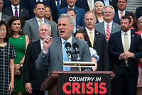 United States House Minority Leader Kevin McCarthy (Republican of California) offers remarks on President Joe Biden and House Speaker Nancy Pelosi's leadership during a press conference outside of the US Capitol in Washington, DC, Thursday, July 29, 2021. Credit: Rod Lamkey / CNP / MediaPunch