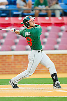 Michael Broad #8 of the Miami Hurricanes follows through on his swing against the Wake Forest Demon Deacons at Gene Hooks Field on March 18, 2011 in Winston-Salem, North Carolina.  Photo by Brian Westerholt / Four Seam Images