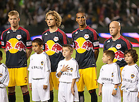 CARSON, CA - November 3, 2011: NY Red Bulls Tim Ream (5), Stephen Keel (22), Roy Miller (7) and Luke Rodgers (9) before the match between LA Galaxy and NY Red Bulls at the Home Depot Center in Carson, California. Final score LA Galaxy 2, NY Red Bulls 1.