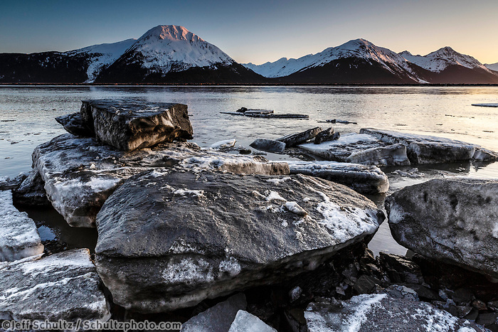 Spring landscape view of icebergs and ice floes/pan ice in Turnagain Arm with snow-covered Kenai Mountains  April 2017<br /> <br /> Photo by Jeff Schultz/SchultzPhoto.com  (C) 2017  ALL RIGHTS RESERVED