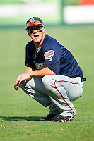 Bryce Harper #34 of the Harrisburg Senators stretches prior to the game against the Richmond Flying Squirrels in game one of a double-header at The Diamond on July 22, 2011 in Richmond, Virginia.  The Squirrels defeated the Senators 3-1.   (Brian Westerholt / Four Seam Images)