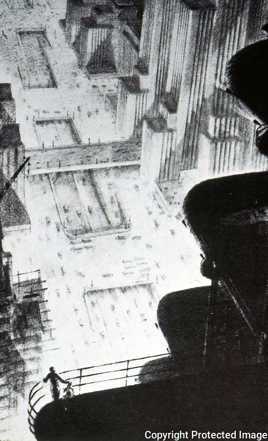 """Hugh Ferris:  """"Skyscraper Hanger"""", CA 1930.  IN A METROPOLIS, Corn & Horrigan.    Comment """"The mood conjured...is like that of  'The Sublime' of 18th and 19th Century painting  in which mere mortals stand awestruck in nature."""