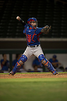 AZL Rangers catcher David Garcia (9) prepares to make a throw to second base during an Arizona League game against the AZL Cubs 2 at Sloan Park on July 7, 2018 in Mesa, Arizona. AZL Rangers defeated AZL Cubs 2 11-2. (Zachary Lucy/Four Seam Images)