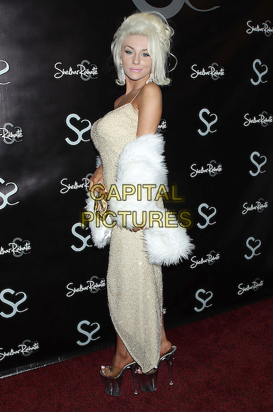 Courtney Stodden.Courtney Stodden attends the Dr. Ava Cadells Sizzling Sexy Summer of 2013 Seminar at Shekhar Rahate Haute Couture Showroom, West Hollywood, California, USA, 16th May 2013..full length white fur wrap shawl gold dress  jacket sparkly clear plastic platform perspex shoes side .CAP/ADM/RE.©Russ Elliot/AdMedia/Capital Pictures