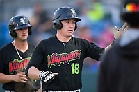 Nate Nolan (18) of the Great Falls Voyagers high fives his teammates after returning to the dugout after hitting a home run during the game against the Helena Brewers at Centene Stadium on August 19, 2017 in Helena, Montana.  The Voyagers defeated the Brewers 8-7.  (Brian Westerholt/Four Seam Images)