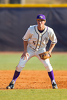 High Point Panthers third baseman Kyle Brandenburg (5) on defense against the Bowling Green Falcons at Willard Stadium on March 9, 2014 in High Point, North Carolina.  The Falcons defeated the Panthers 7-4.  (Brian Westerholt/Four Seam Images)