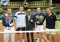 23-2-07,Tennis,Netherlands,Rotterdam,ABNAMROWTT, Exhibition match with (ltr) Edward van Cuilenborg, Richard Krajicek,umpire Stan Franken Jochem van Gelder en Jan Siemerink