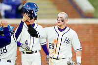 Adam Barry (29) of the High Point Panthers after scoring a run against the Liberty Flames at Willard Stadium on March 23, 2013 in High Point, North Carolina.  The Panthers defeated the Flames 9-3.  (Brian Westerholt/Four Seam Images)