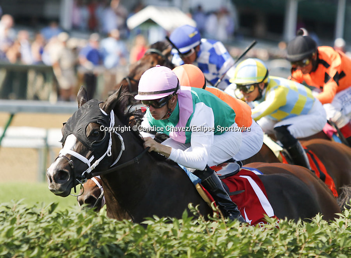 June 26, 2021: Set Piece (GB) #1, ridden by jockey Florent Geroux, wins the Wise Dan Stakes (Grade 2) on the turf at Churchill Downs on June 26, 2021 in Louisville, Kentucky. Candice Chavez/Eclipse Sportswire/CSM