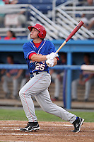 Auburn Doubledays outfielder Brandon Miller #25 hits his first career home run during a game against the Batavia Muckdogs at Dwyer Stadium on June 18, 2012 in Batavia, New York.  Auburn defeated Batavia 6-5.  (Mike Janes/Four Seam Images)