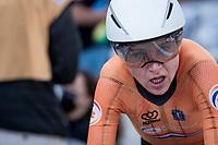 defending champion Annemiek van Vleuten (NED/Movistar) after finishing 3rd<br /> <br /> Women Elite Individual Time Trial from Knokke-Heist to Bruges (30.3 km)<br /> <br /> UCI Road World Championships - Flanders Belgium 2021<br /> <br /> ©kramon