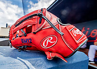 27 February 2019: A red Rawlings glove lies ready in the dugout prior to a pre-season game between the Houston Astros and the Washington Nationals at the Ballpark of the Palm Beaches in West Palm Beach, Florida. The Nationals defeated the Astros 14-8 in their Spring Training Grapefruit League matchup. Mandatory Credit: Ed Wolfstein Photo *** RAW (NEF) Image File Available ***