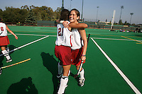 6 November 2007: Stanford Cardinal Hillary Braun (right) and Rachel Bush (21) during Stanford's 1-0 win against the Lock Haven Lady Eagles in an NCAA play-in game to advance to the NCAA tournament at the Varsity Field Hockey Turf in Stanford, CA.