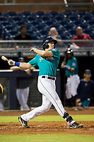 AZL Mariners right fielder Ryan Garcia (14) follows through on his swing against the AZL Royals on July 29, 2017 at Peoria Stadium in Peoria, Arizona. AZL Royals defeated the AZL Mariners 11-4. (Zachary Lucy/Four Seam Images)