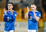 St Johnstone v St Mirren….27.03.19   McDiarmid Park   SPFL<br />Chris Kane applauds the fans at full time alongside Ross Callachan<br />Picture by Graeme Hart. <br />Copyright Perthshire Picture Agency<br />Tel: 01738 623350  Mobile: 07990 594431