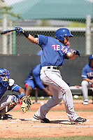 Jared Bolden of the Texas Rangers  plays in a minor league spring training game against the Kansas City Royals at the Rangers complex on March 22, 2011  in Surprise, Arizona. .Photo by:  Bill Mitchell/Four Seam Images.