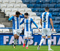 20th February 2021; The John Smiths Stadium, Huddersfield, Yorkshire, England; English Football League Championship Football, Huddersfield Town versus Swansea City; Fraizer Campbell (Hud) celebrates as he makes it 1-0 after 22 minutes