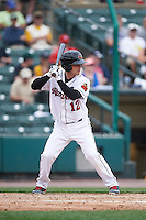 Rochester Red Wings catcher John Ryan Murphy (12) at bat during a game against the Indianapolis Indians on May 26, 2016 at Frontier Field in Rochester, New York.  Indianapolis defeated Rochester 5-2.  (Mike Janes/Four Seam Images)
