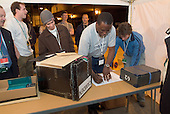First ballot box arrives at Camden Town Hall on the night of the 2005 General Election.