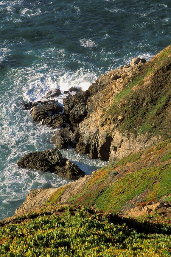 Looking down towards ocean waves crashing against rugged coastal rock cliffs, Point Reyes National Seashore, Marin County, California.