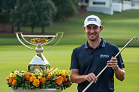 """5th September 2021: Atlanta, Georgia, USA;  Patrick Cantlay (USA) poses with the FedExCup trophy and Bobby Jones """"Calamity Jane"""" putter after the final round of the PGA TOUR Championship on September 5, 2021 at East Lake Golf Club in Atlanta, GA. (Photo by John Adams/Icon Sportswire)"""