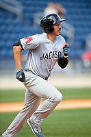 Jackson Generals left fielder Rudy Flores (11) runs to first base during a game against the Biloxi Shuckers on April 23, 2017 at MGM Park in Biloxi, Mississippi.  Biloxi defeated Jackson 3-2.  (Mike Janes/Four Seam Images)