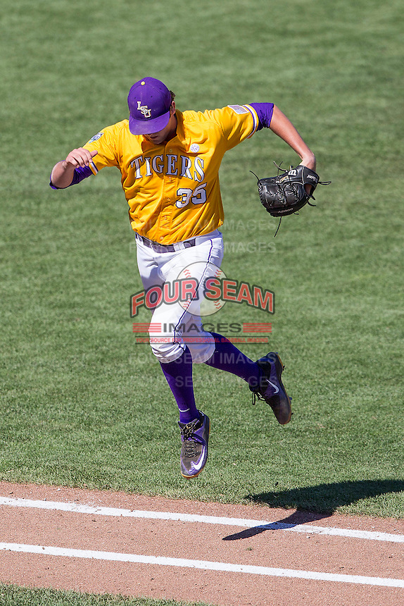 LSU Tigers starting pitcher Alex Lange (35) during the NCAA College baseball World Series against the Cal State Fullerton on June 16, 2015 at TD Ameritrade Park in Omaha, Nebraska. LSU defeated Fullerton 5-3. (Andrew Woolley/Four Seam Images)