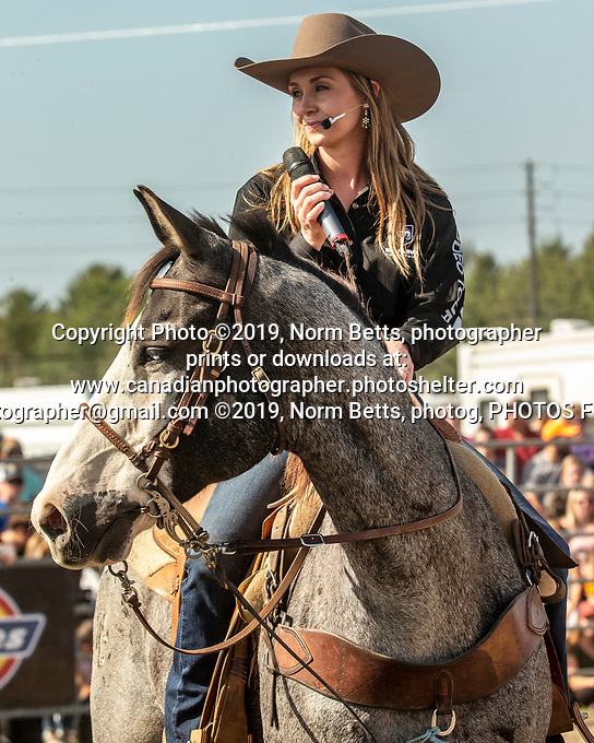 """RAMRodeo's three day show at the International Plowing Matches in Verner, Ontario, Canada <br /> September 19, 20 & 21st, 2017<br /> Norm Betts, photog<br /> normbetts@canadianphotographer.com<br /> Norm Betts, copyright©2019<br /> normbettsphotog@gmail.com<br /> 416 460 8743 Amber Marshall, the star of CBC's """"Heartland"""" was one of the co-announcers at a RAM Rodeo performance at Ontario's International Plowing Matches in Verner, Ontario"""