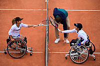 9th October 2020, Roland Garros, Paris, France; French Open tennis, Roland Garr2020;  Ladies singles wheelchair final, Momoko Othani jpn touches raquets with Yui Kamiji jpn