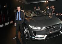 Vincent PERROT devant le prototype Jaguar electrique - Soiree des grands prix du Festival Automobile International - 31 janvier 2017 - Paris - FRANCE
