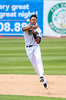 Kane County Cougars second baseman Yan Sanchez (2) throws to first base during a Midwest League game against the Quad Cities River Bandits on July 1, 2018 at Northwestern Medicine Field in Geneva, Illinois. Quad Cities defeated Kane County 3-2. (Brad Krause/Four Seam Images)