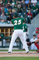 Logan Sherer (25) of the Charlotte 49ers at bat against the North Carolina State Wolfpack at BB&T Ballpark on March 31, 2015 in Charlotte, North Carolina.  The Wolfpack defeated the 49ers 10-6.  (Brian Westerholt/Four Seam Images)