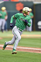 Notre Dame Fighting Irish third baseman Kyle Fiala (20) runs to first base base during a game against the Clemson Tigers at Doug Kingsmore Stadium on March 11, 2017 in Clemson, South Carolina. The Tigers defeated the Fighting Irish 6-5. (Tony Farlow/Four Seam Images)