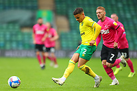 3rd October 2020; Carrow Road, Norwich, Norfolk, England, English Football League Championship Football, Norwich versus Derby; Max Aaron of Norwich City under pressure from Kamil Jozwiak of Derby County