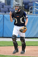 April 15,2010:  Catcher Kevin Gerken (6) of the Genesee Community College (GCC) Cougars Men's Baseball Team in the field vs. Alfred State at Dwyer Stadium in Batavia, NY.  Photo Copyright Mike Janes Photography 2010