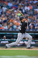 Kevan Smith (36) of the Chicago White Sox follows through on his swing against the Detroit Tigers at Comerica Park on June 2, 2017 in Detroit, Michigan.  The Tigers defeated the White Sox 15-5.  (Brian Westerholt/Four Seam Images)