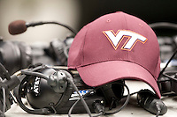Virginia Tech hat is sitting on the radios during Sugar Bowl game against Michigan at Mercedes-Benz SuperDome in New Orleans, Louisiana on January 3rd, 2012.  Michigan defeated Virginia Tech, 23-20 in first overtime.