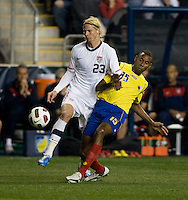 Brek Shea (23) of the USMNTcollides with Jhon Viafara (15) of Colombia during an international friendly at PPL Park in Chester, PA.  The U.S. tied Columbia, 0-0.
