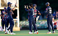 Qais Ahmad of Kent is congratulated after taking the wicket of Miles Hammond LBW during Kent Spitfires vs Gloucestershire, Vitality Blast T20 Cricket at The Spitfire Ground on 13th June 2021