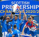 15.05.2021 Rangers v Aberdeen: Leon Balogun with the SPFL Premiership league trophy